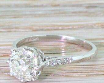 Art Deco 1.78 Carat Old Cushion Cut Diamond Engagement Ring, circa 1920