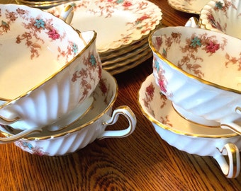 Five Settings (10 pieces) Minton Ancestral Bone China Cream Soup Bowls and Matching Saucers, , Vintage English Bone China