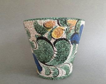 Ruscha keramik 236 / 2.5  Planter - Flower Pot, decor : Enzian,  vintage Mid Century 1950s / 1960s West Germany. WGP.