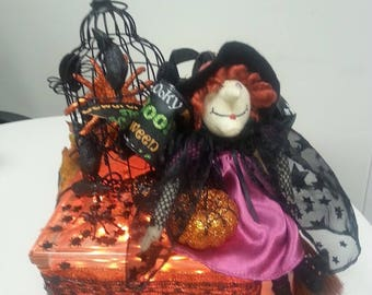 "Halloween Lighted Glass Block ""The Bewitching Hour"""