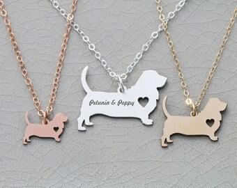 SALE • Basset Hound Dog Necklace • Dog Mom Gift • Pet Mom • Dog Loss • New Pet • New Dog • Pet Necklace • Personalized Pet • Rose Gold Pet