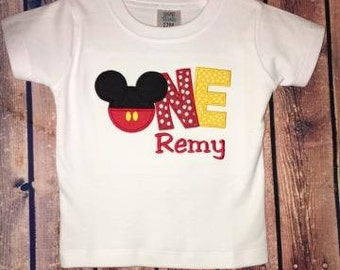 Personalized Mickey Mouse First Birthday Shirt or One Piece Bodysuit  - ONE with Mickey Head