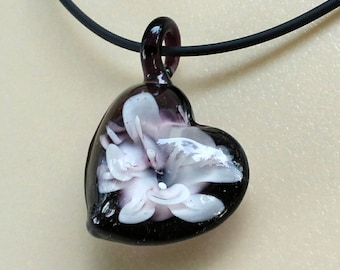 Purple Heart Floral Pendant Necklace, Lampwork Glass. Flower like image inside, comes with a short black leather cord. Clearance SALE!