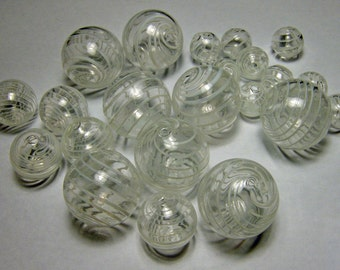 Hollow Blown Glass Beads 20mm Clear with white stripes (6)