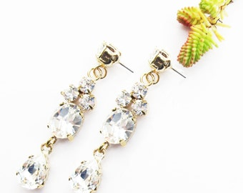 Sami Swarovski Crystal Couture Bridal/Wedding/Bridesmaid/Statement earrings in Gold or Silver