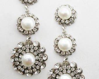 Bridal Earrings, Wedding Earrings,  Pearl Jewellery, Crystal Earrings, Wedding Jewellery, Drop Earrings, Bridal Jewellery