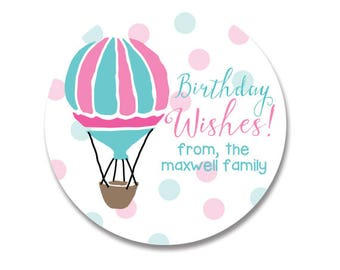Hot Air Balloon Personalized Sticker, Birthday Stickers, Happy Birthday Gift Labels, Gift Stickers for Birthday,  Balloons, Birthday Wishes