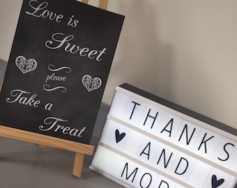 Love is sweet, please take a treat wedding sign. Sweetie table sign, sweet cart sign A3 A4 size