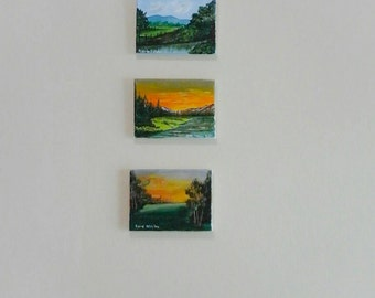 Free shipping one set of the original paintings winter,spring and sunset