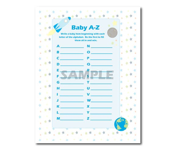 Blue Space and Rocket Baby Boy Shower Set of 6 Printable Games, Instant Download