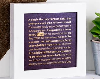 Dog Print; Dog Gift; Framed Dogs Print; Gold Dog Print; Dog Lover Gift; Purple Print; Dog Owner Gift; Dog Quotes; FMS020