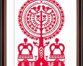 Womenfolk digital cross stitch chart instant download Polish Folk Art  tree of life Polish papercuts folklore