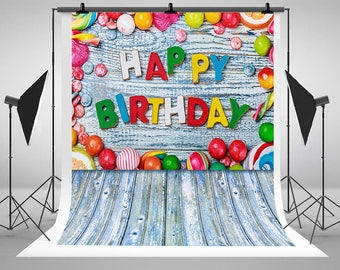 Happy Birthday Theme Photography Backdrops Blue Wood Colorful Candies Photo Backgrounds for Children Party Studio Props