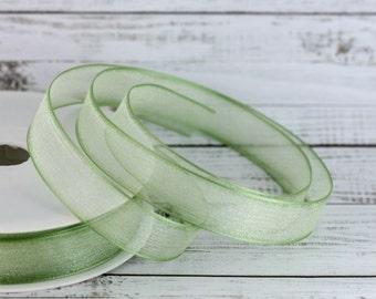 15mm Light Green Organza Ribbon