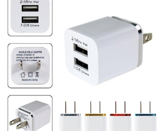 Double-usb Port usb LOTS(3) Three  AC/DC Power Adapter Wall Charger iPhone Android -Free shipping