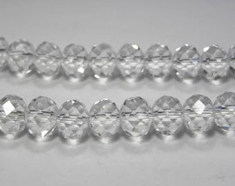 Faceted Glass Briolette Beads Rondelle Beads 8mm - Crystal
