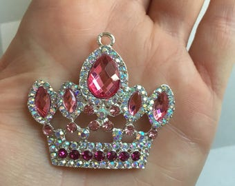 P119 Pink Royal Crown Rhinestone Pendant for Chunky Necklaces