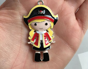 P108 Pirate Girl Pendant for Chunky Necklaces