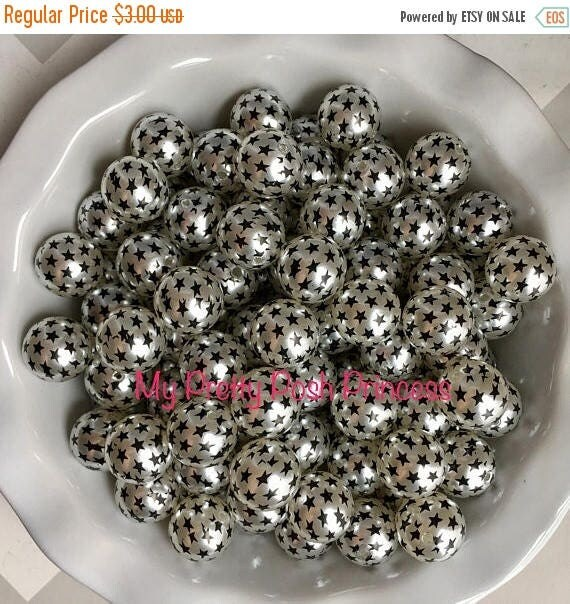 MEMORIAL SALE 20mm Black Star & Silver Pearl Chunky Bubble Gum Beads Set of 10
