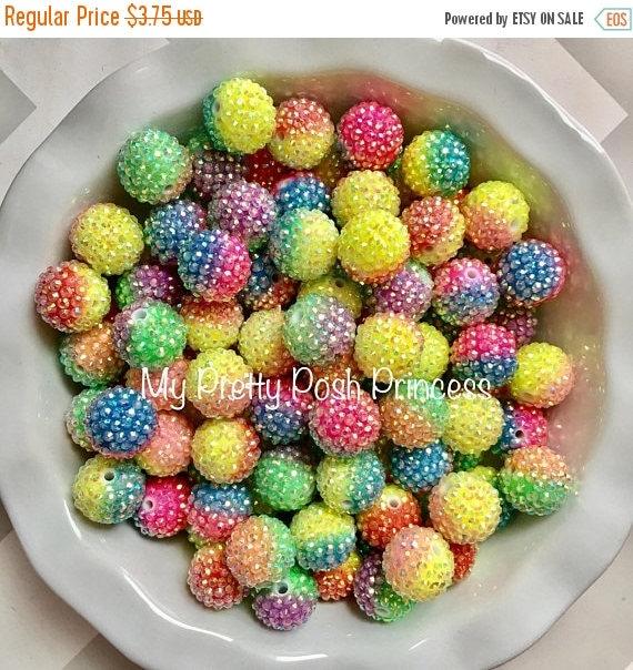 MEMORIAL SALE 20mm Rainbow Blending AB Rhinestones Chunky Bubble Gum Beads Set of 10