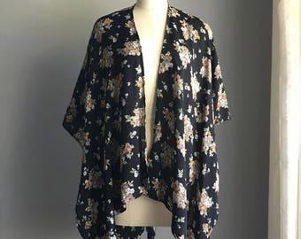 Black Vintage Floral Romantic Kimono