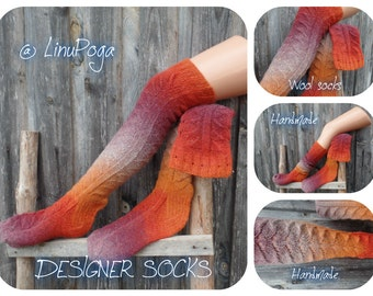 Socks WOOL socks Dress Socks Boot LACE socks Knitted thigh high socks DESIGNER socks Warming Micro-massaging High Knee Socks Winter Socks