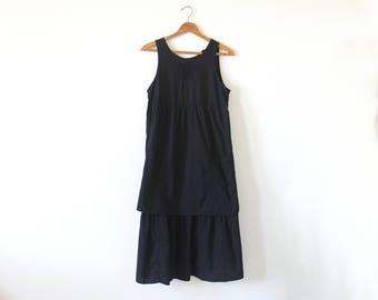 70s black layered dress / vintage black apron dress