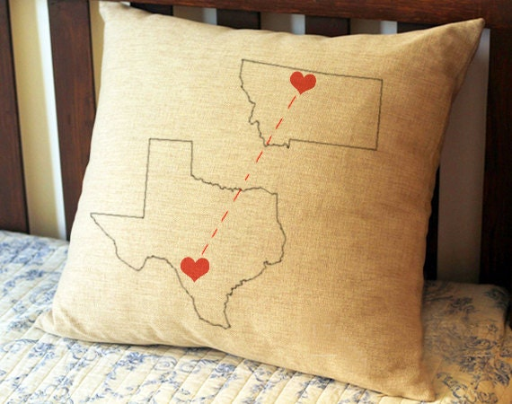 long distance boyfriend gift state map pillow case. Black Bedroom Furniture Sets. Home Design Ideas