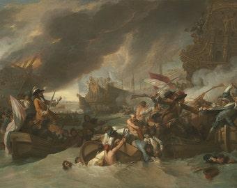 Benjamin West: The Battle of La Hogue. Fine Art Print/Poster. (004071)