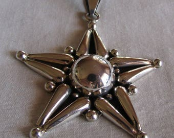 Beautiful Sterling Silver Star Pendant from Mexico