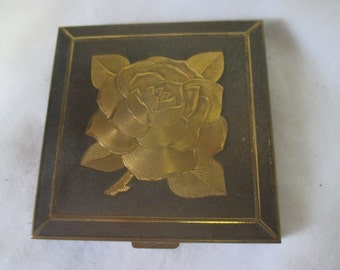 Vintage face powder compact New Old Stock unused Rose Floral Brass Compact