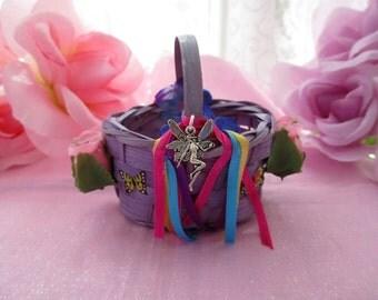 Mini Purple Basket, Miniature Fairy Basket, OOAK Mini Purple Fairy Baskets With Trinkets,Faerie Basket, Fae Basket,Alter Basket,Fairy Kit