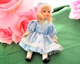 Vintage Porcelain Doll, Vintage Porcelain Doll in Blue Dress, Vintage Dollhouse Doll