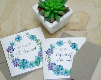 Bridal Party Gift Cards - Succulent