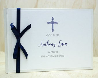 Personalised Baptism Guest Book - Navy Cross