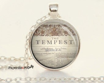 Shakespeare - Necklace - The Tempest - First Folio - Literature Necklace - Literary Jewelry - Book Gifts -   (B0334)