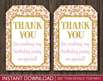 Safari Birthday Favor Tags | Pink and Gold, Cheetah, Thank You, Party Favor Tags | Printable Digital File | INSTANT DOWNLOAD