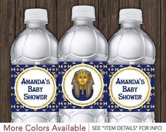 Egyptian Water Bottle Labels - Printable Egyptian Baby Shower Party Decorations - DIY Digital File