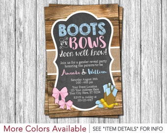 Boots or Bows Gender Reveal Invitation • Gender Reveal Party Invitation