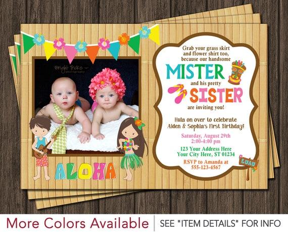 Twins Birthday Invitation Luau Party Hawaiian Invitation – Twin Birthday Invitation