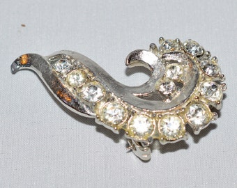 Vintage Brooch or Lapel Pin - Silver Tone Metal with Rhinestones, Seahorse Shape