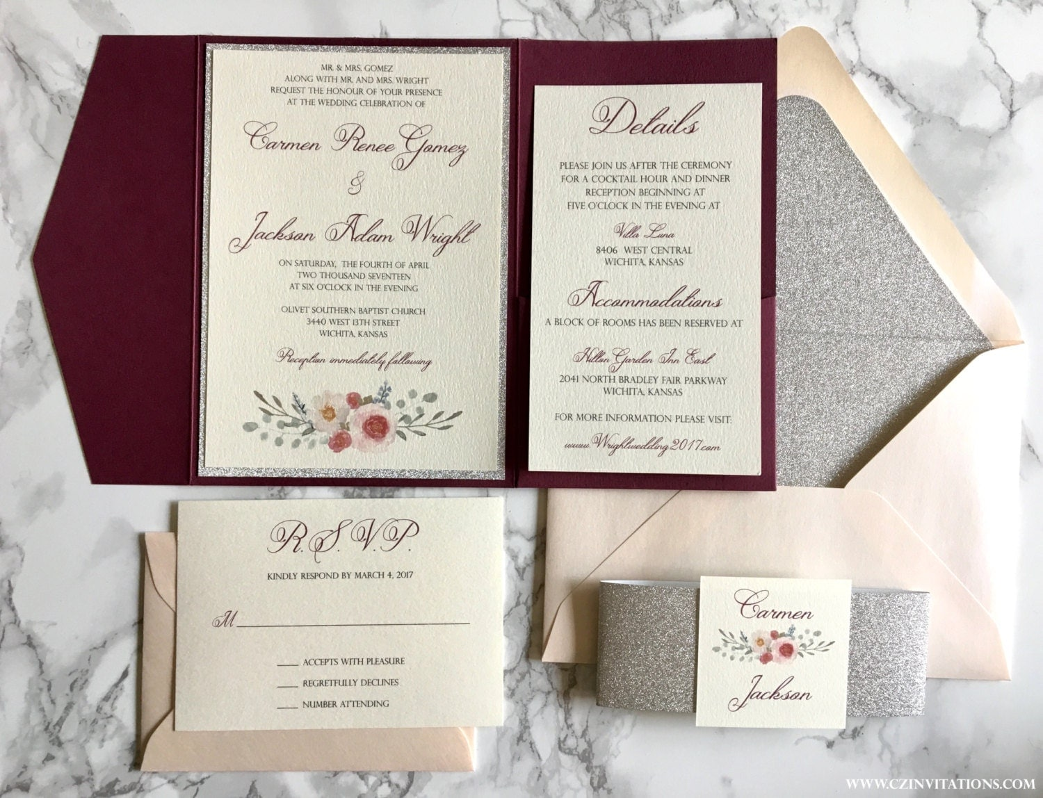 Silver Wedding Invitations: Burgundy And Silver Glitter Pocket Wedding Invitations