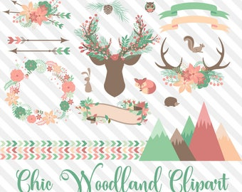 Chic Woodland Clip Art, coral and mint green deer antlers, wreaths, arrows, floral bouquets, forest animals vector clipart, tribal graphics