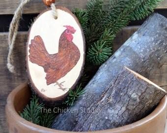 Chicken Ornament, Seabright Chicken, Hen Ornament, Christmas Ornament, Golden Seabright, Wood Slice, wood ornament, Gift