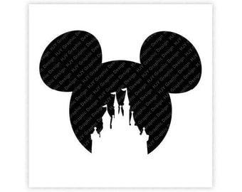 Disney, Castle, Mickey, Minnie, Mouse, Head, Icon, Ears, Digital, Download, TShirt, Cut File, SVG, Iron on, Transfer