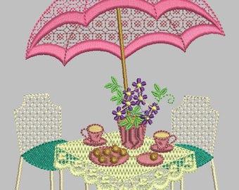 Tea Garden design machine embroidery hoop 5x7