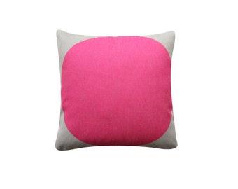 "Pink Dot Grey Background Pillow Cover, 18""x18"" Decorative Pillow Case, Scandinavian Cushion, Minimalist Throw Cushion Cover #197"