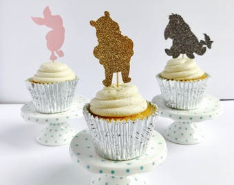 Pooh Cupcake Toppers- set of 12/ Winnie the Pooh Cupcake toppers