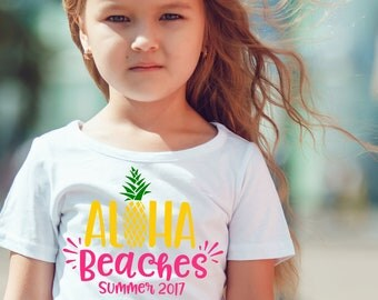 SVG DXF PNG Cut File - Aloha Beaches - Summer - Pineapple - Tshirt Iron On - Cutting Files - Cricut - Silhouette