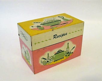 Fun Vintage Metal Recipe Card Holder Box with Lid Kitchen Pink Yellow Green Ohio Art Co. Made in USA
